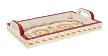 Moroccan Serving Tray. Wood. Handmade Hand painted Off White  and Red Antiqued Effect (SWT3)